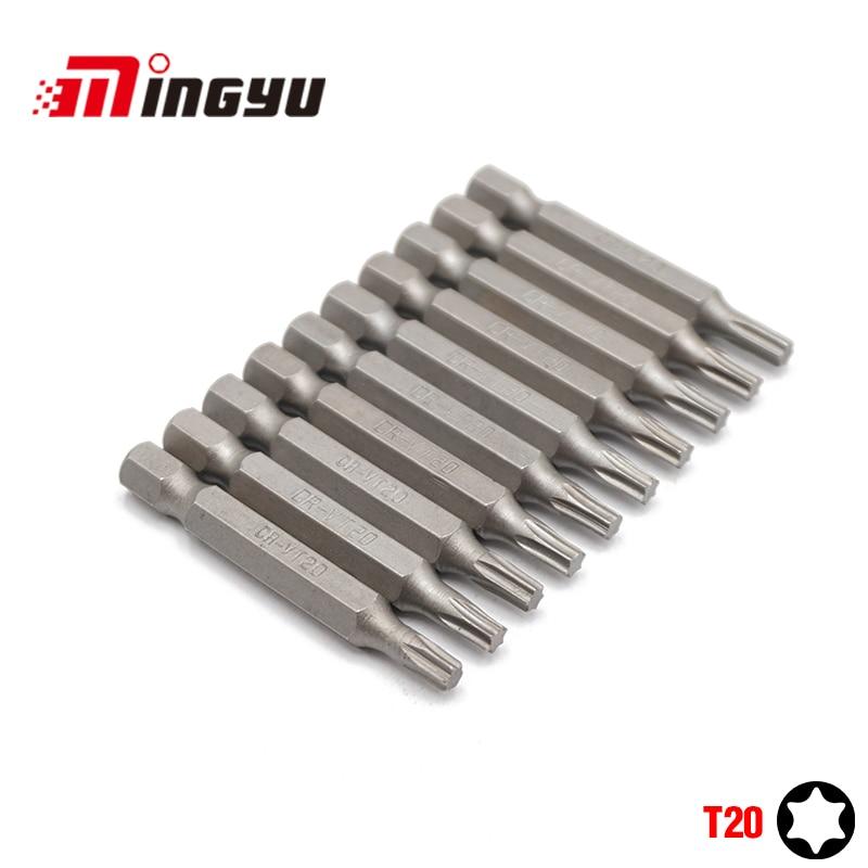 Набор отверток Torx T20, 10 шт., 1/4 дюйма, 50 мм, набор инструментов, набор отверток для ремонта, набор сверл с шестигранным хвостовиком для электрои...