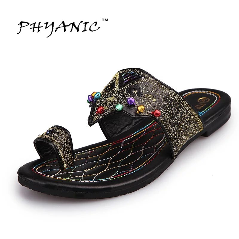 PHYANIC Women Fashion Flip Flop Sandals Flat With Fashion Summer Gladiator Slides Metal Charm All-match Women's Shoes PHY4038 phyanic 2017 gladiator sandals gold silver shoes woman summer platform wedges glitters creepers casual women shoes phy3323