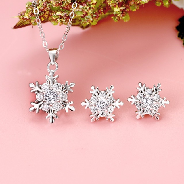 Bella 925 Sterling Silver Winter Snowflake Bridal Jewelry Set Cubic