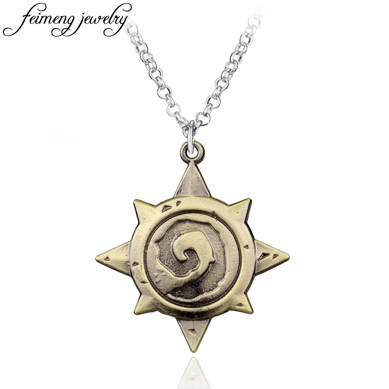 Online Game Dota 2 Pendant Necklace Fashion Link chain Collier Vintage Bronze Alloy Choker Necklace Accessories For Men