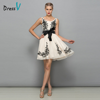 Dressv 2017 yellow a line mini sleeveless cocktail dress scoop neck zipper up appliques bowknot short cocktail dress with sashes
