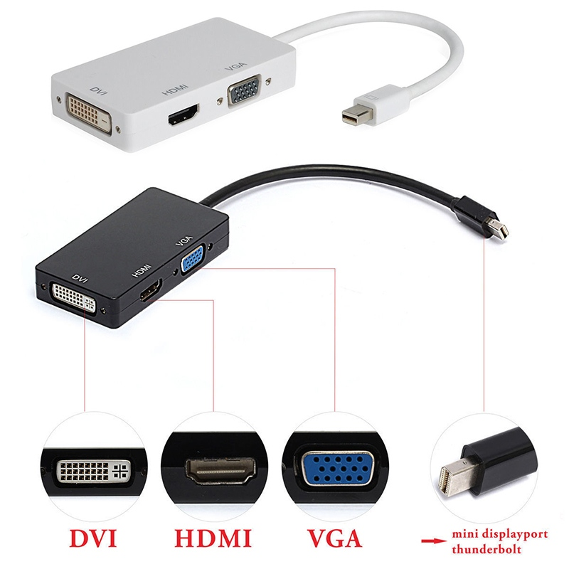 Mini Display Port DP Thunderbolt to DVI VGA HDMI 3 in 1 Adapter For MacBook Pro