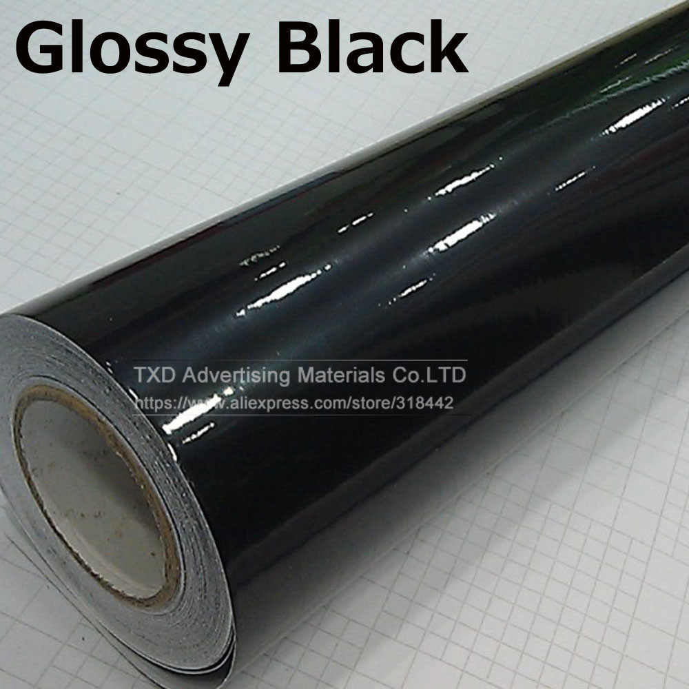 10/20/30/40/50/60x152CM Glossy Black Vinyl Auto Decal Wrap sticker Black Gloss Film Wrap Retail Voor KAP Dak Motorfiets Scooter