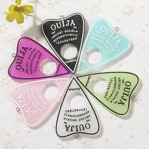 10pcs 42*60mm Ouija Planchette Charms Flat back Resin Cabochons Glitter Accessory for Necklace Pendant DIY(China)