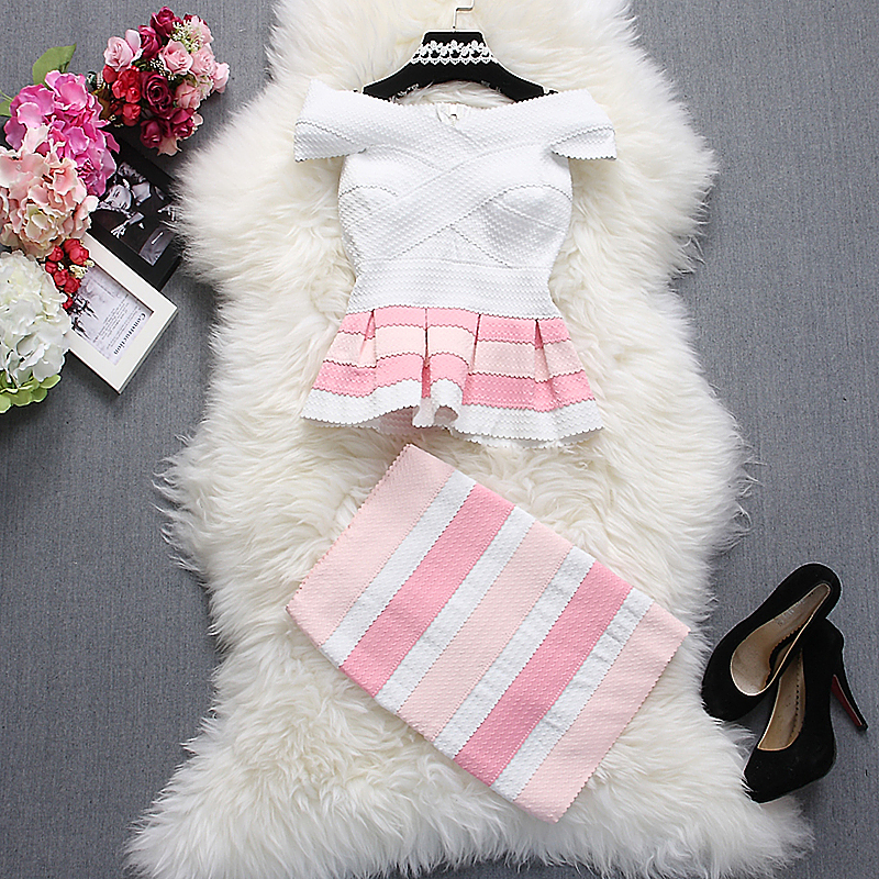 Alpha Customization Women Fashion Tops+Skirt Outfits Summer Slash Neck Short Sleeve Striped Ruffles Dress Top And Skirts Sets
