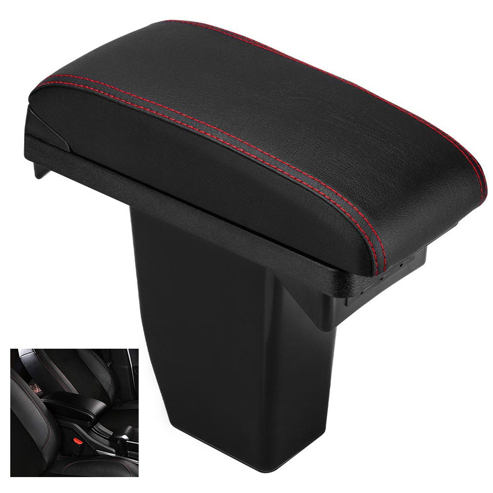 Armrest Box Central Storage Box Modification PU Leather USB Wire Black Red White Car For Peugeot 2008
