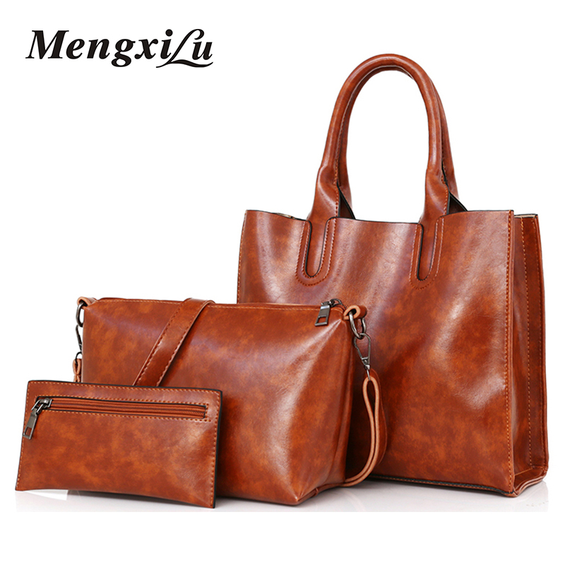 3 Pcs/Set Oil Wax Leather Women Bag  Leather Handbags High Quality Casual Female Bags Trunk Tote Spanish Brand Shoulder Bag