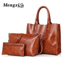 3 Teile/satz Öl Wachs Leder Frauen Tasche Handtaschen Aus Leder Hohe Qualität Casual Taschen Stamm Tote Spanische Marke Umhängetasche