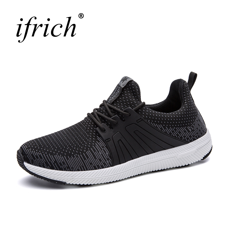 Ifrich New Running Shoes Lace Up Man Sport Sneakers Men Mesh Breathable Trainers Sport Spring Summer Men Sneakers for Walking