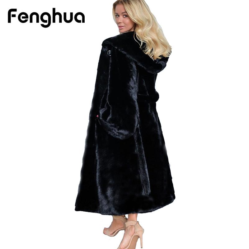 2018 Hiver Noir En Fausse Fourrure Manteau Femmes décontracté à manches longues À Capuche De Fourrure vestes Chaud Oversize Long Manteau Survêtement grande taille 4XL