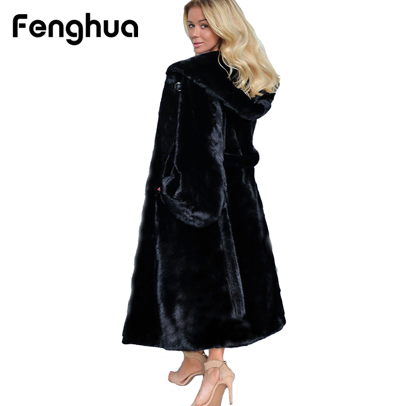 2018 Winter Black Faux Fur Coat Women Casual Long Sleeve Hooded Fur Jacket Coats Warm Oversize Long Coat Outerwear Plus Size 4XL