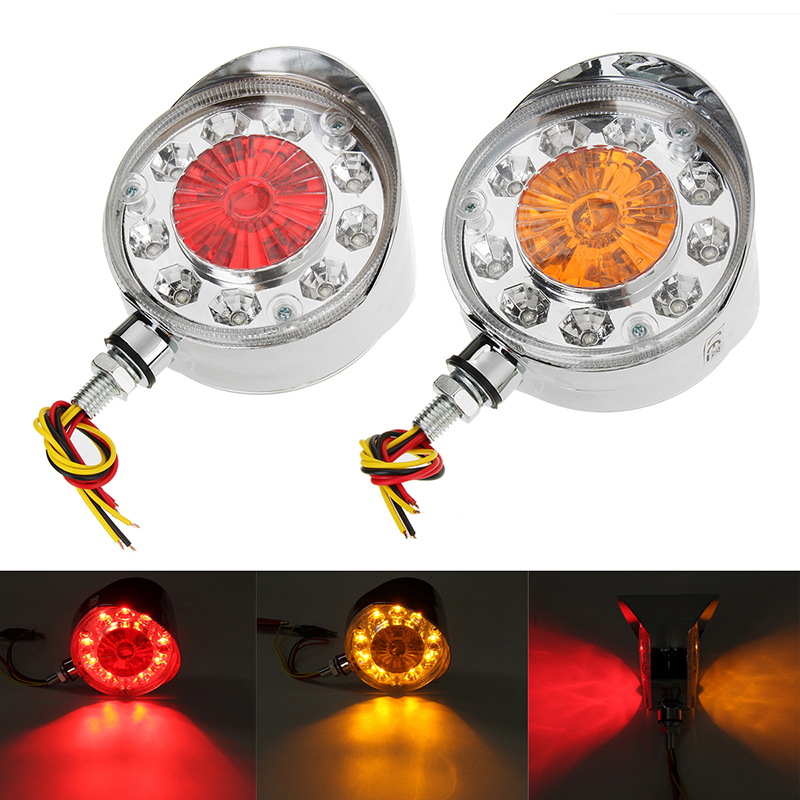 2 Pcs Double Face Red Yellow Side Marker Lights Turn Signal Lamp for Truck Trailer Bus Boat 24V