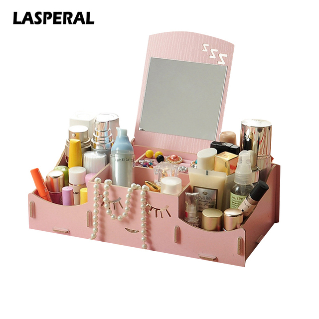 Creative Smiling Wooden DIY Assembly Cosmetic Storage Box With
