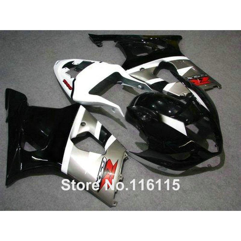 ABS motorcycle parts for SUZUKI Injection GSXR 1000 K3 K4 2003 2004 silver white black fairing kit GSX-R1000 03 04 fairings YY8