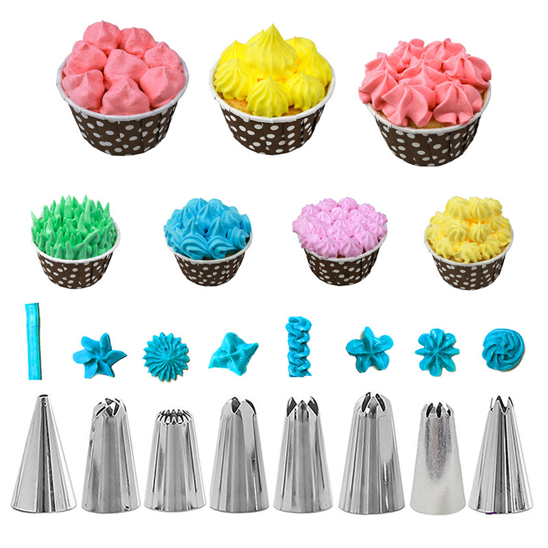 14PCS Set Silicone Kitchen Accessories Icing Piping Cream Pastry Bag 8pcs Stainless Steel Nozzle Set DIY Cake Decorating Tools in Decorating Tip Sets from Home Garden