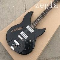 2018 new + factory + black Rickenback 360 electric jazz guitar semi hollow Ricken 330 guitar 2 pickups rick guitar free shipping