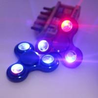 LED Lights Tri Fidget Hand Spinner Triangle Torqbar Brass Puzzle Finger Toy EDC Focus Fidget Spinner
