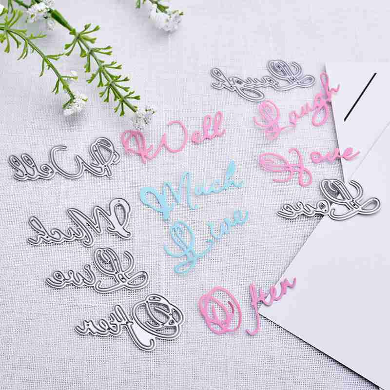 Hoomall 4pcs Metal Cutting Dies For Scrapbooking Letters Decorative