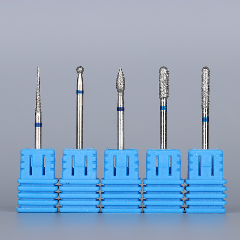 1Pc Diamond Tungsten Nail Drill Bit Replacement Fil Broach Blå Slipning Electric Manicure Cutter Nail Filer 5 Mönster