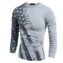 2017 Hot Sale Full Fashion Spring And Autumn Men T-shirt Long Sleeve T Shirt American Flag Printed Male T-shirts Camiseta
