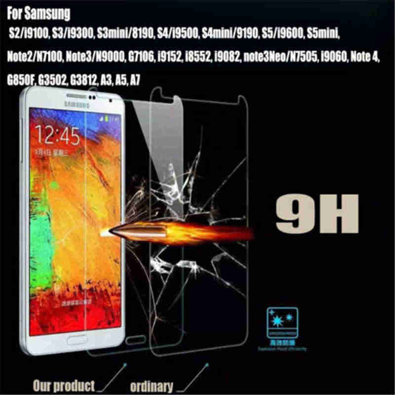 High quality Tempered Glass Protective Screen Protector Film for Samsung Galaxy  S3 S4 S4 MINI S5 s5 Mini S6 NOTE 2/3/4/5