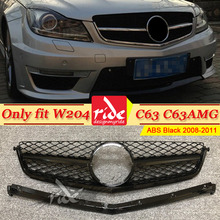Only Fit W204 C63 Style Front Grill Grille For MercedesMB C Class C63AMG Look ABS Black Without Sign 2008-2011