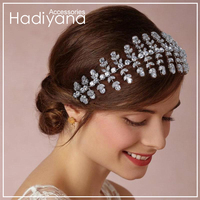 Hadiyana Wedding Hair jewelry Soft Crown Handmade Bridal Headpiece Hair Accessories Women Cubic Zirconia Bride Hairpiece BC4853