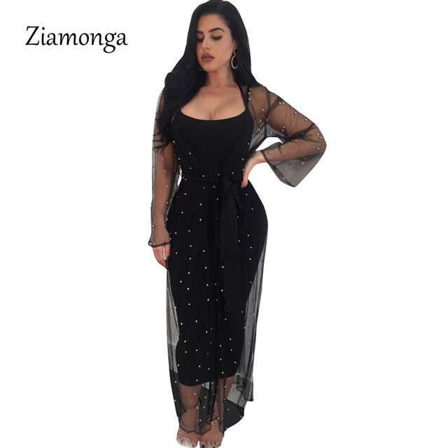 Ziamonga Runway Maxi Dress 2018 Long Sleeve Two Piece Set Diamond Spring  Dress 2 Pieces Sheer 200dc38e8d5d