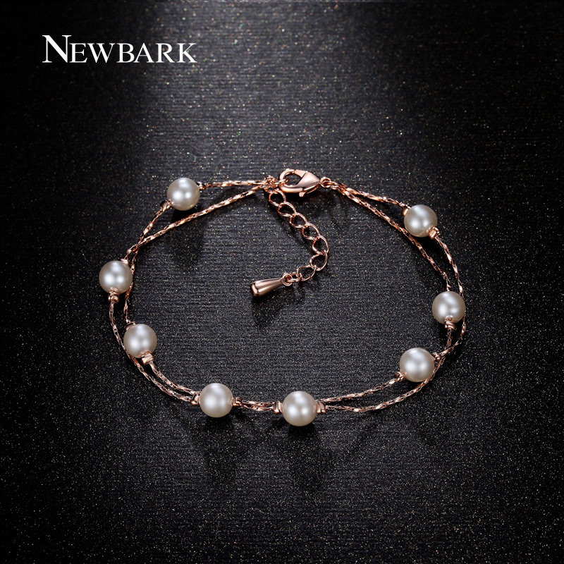 font b NEWBARK b font Fashion Rose Gold Plated 8pcs Simulated Pearl font b Bracelets