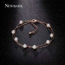 NEWBARK Fashion Rose Gold Plated 8pcs Simulated Pearl Bracelets For Women Sale Wristband Bts Gifts Jewellery
