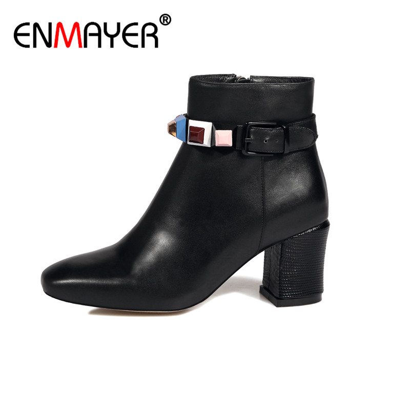 ФОТО ENMAYER Woman Genuine leather Ankle Boots Classic Black Zippers Round Toe High Heels Chunky Spring/Autumn Women Shoes Platform