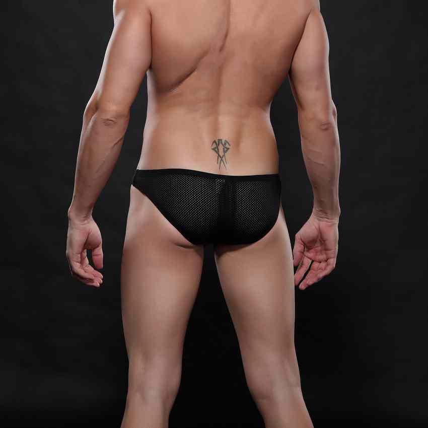Underwear Men Briefs High Quality Brand Nylon Soft Breathable Cuecas Bulge Bikinis Men Sexy Mesh Briefs 6 Color S-XL