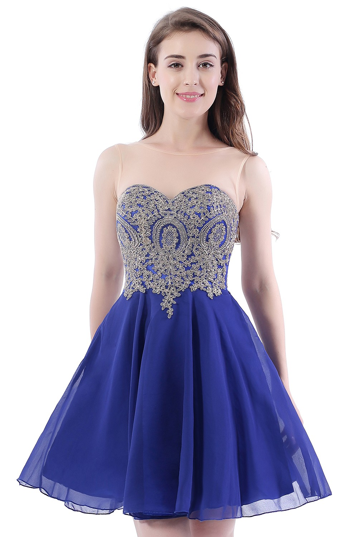 9ae687d35 Azul real Cortos Vestidos de Fiesta 2017 Vestido De Formatura octavo ...