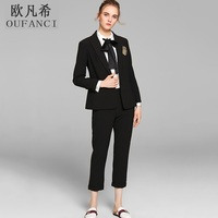 OUFANCI 2017 Autumn Winter Pant Suits Women Full Sleeve Solid Black White Casual Women S Suits