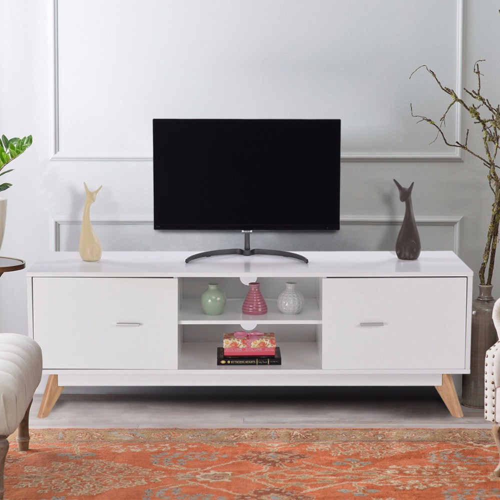 Exceptionnel Giantex Modern TV Stand Entertainment Center Console Cabinet Stand 2 Doors  Shelves White Wood Living Room Furniture HW57020 In Living Room Cabinets  From ...