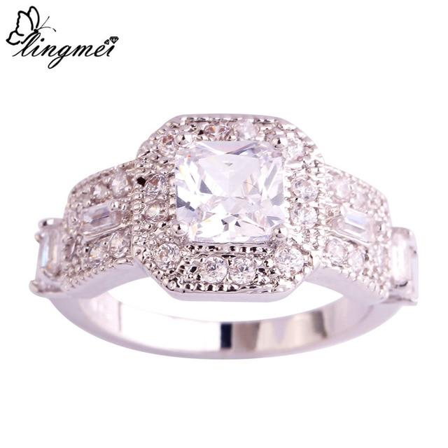 lingmei Art Deco Jewelry Wedding Cocktail Party Gift White Zircon Silver  925 Ring Size 6 7 8 9 10 11 Wholesale Women Jewelry b3e33a9c0d88