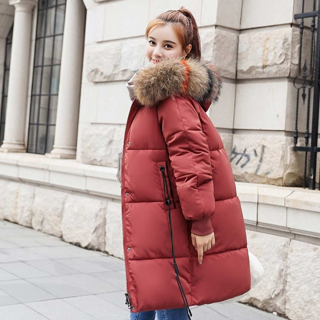 zozowang 2018 New yellow Winter Jacket Women Parka Fake Fur Collar Down Wadded Female outerwear Cotton-Padded Jackets Women Coat 2