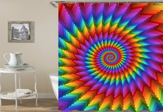 Hot Novelty Tie Dye Shower Curtain Hippy Psychedelic Bathroom Curtains Modern Art Fashion Decorative