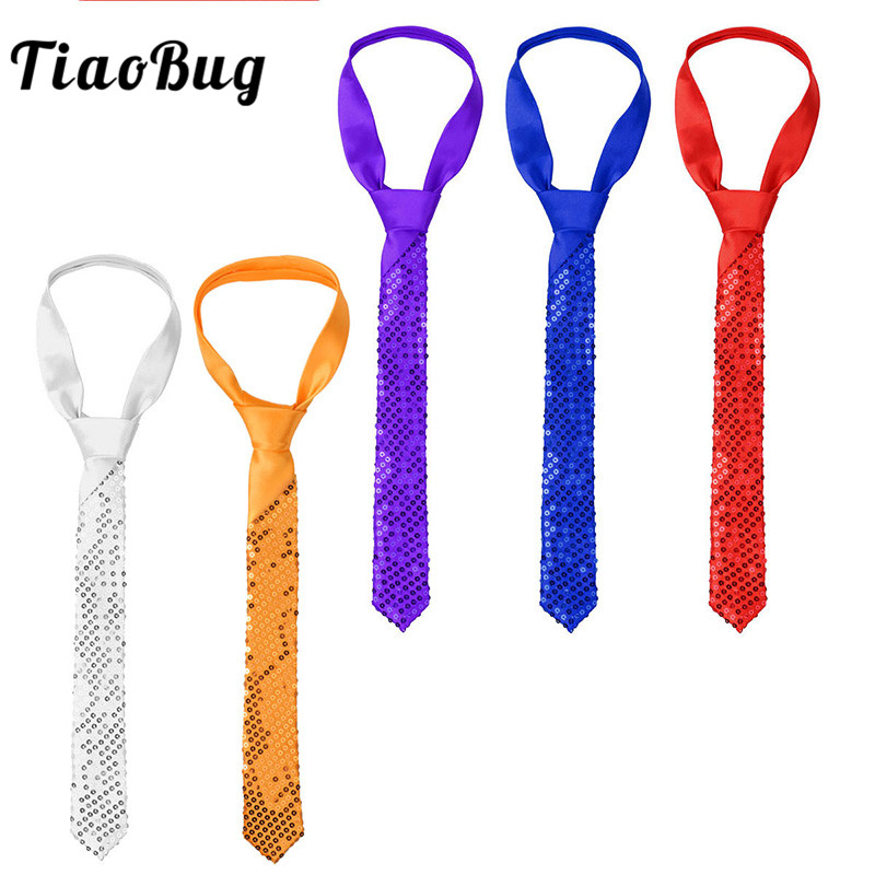 TiaoBug Men Accessories Solid Color Sequined Shiny Slim Tie Costumes Neckwear Prom Magic Show Circus Stage Performance Necktie