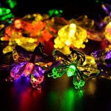 Уличные светодиодные лампы на солнечной батарее гирлянда с бабочками