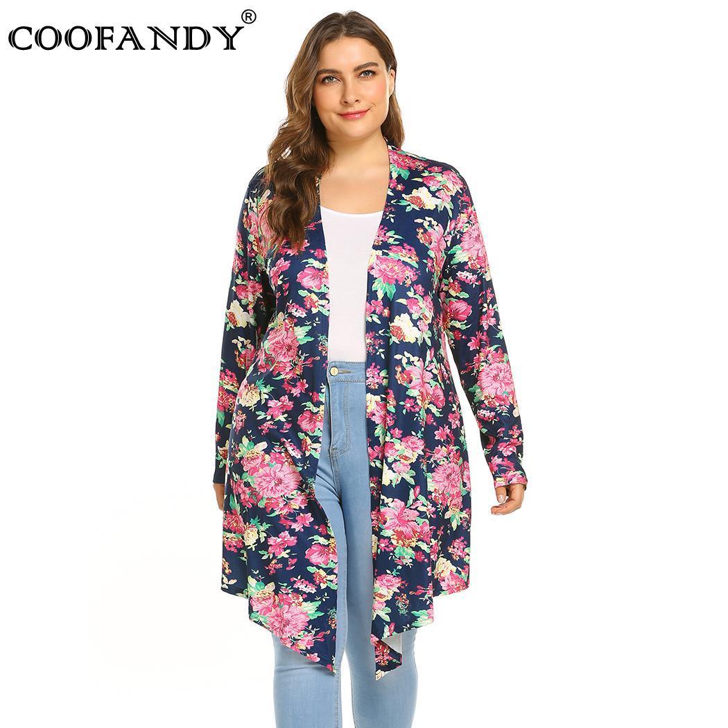 Women Long Floral Print Plus Size Sleeve Open Front Cardigan Hem Drape