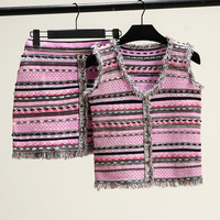 2019 Summer Matching Sets Button Tassel Knitted Vest + Mini Skirt Female Crochet Sweater Two Piece Outfits for Women Suit TS3001