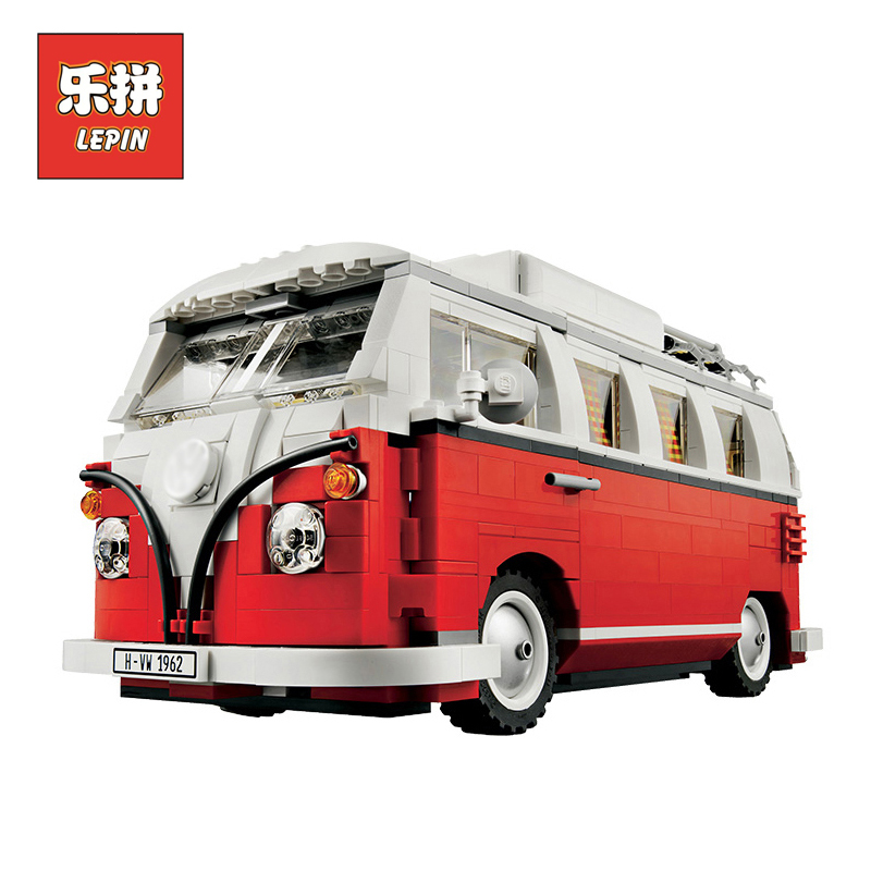 LEPIN 21001 1354Pcs Creator Volkswagen T1 Camper Van Model Building Kits  Bricks Toys Compatible LegoINGlys 10220 Gifts active net yarn stitching high waisted sports leggings in grey
