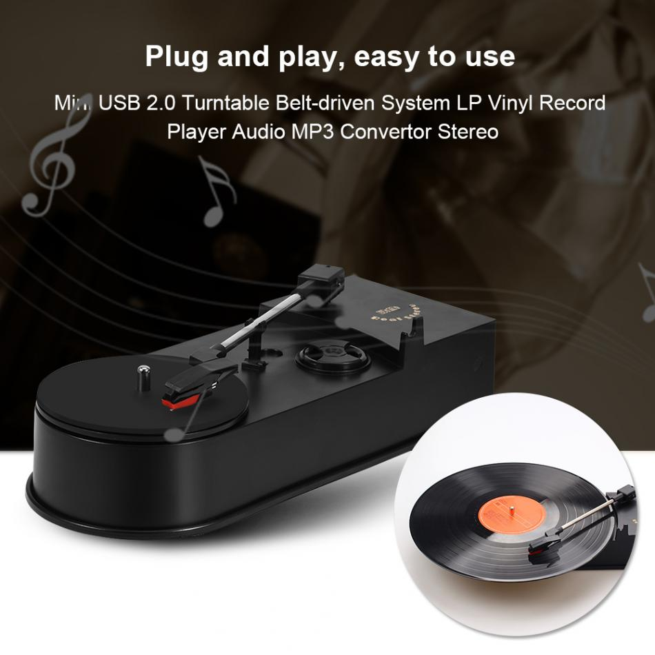 In 3,5mm Lp Vinyl Record Player Mini Usb 2.0 Plattenspieler Gürtel-angetrieben System Audio Mp3 Konverter Stereo Zwei Audio Ausgang Modi Exquisite Verarbeitung