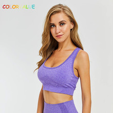 Colorvalue Breathable Seamless Workout Sports Bras Women Stretchy Mid Support Yoga Quick Dry Vest-type Fitness Crop Tops