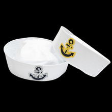 Divertidos sombreros militares Cosplay para niños adultos marineros capitán  sombrero blanco Marina ejército gorra con ancla niño. 4816737aa9f