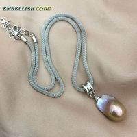 purple gold rare color wheel shape baroque pandent necklace fire ball pearls Durable adjust 20'' snake chain 925 sterling silver