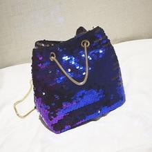 цены на 2019 Fashion Shoulder Bags Women Glitter Reversible Sequins Shoulder Bag Small Drawstring Bucket Chain Handbag  в интернет-магазинах