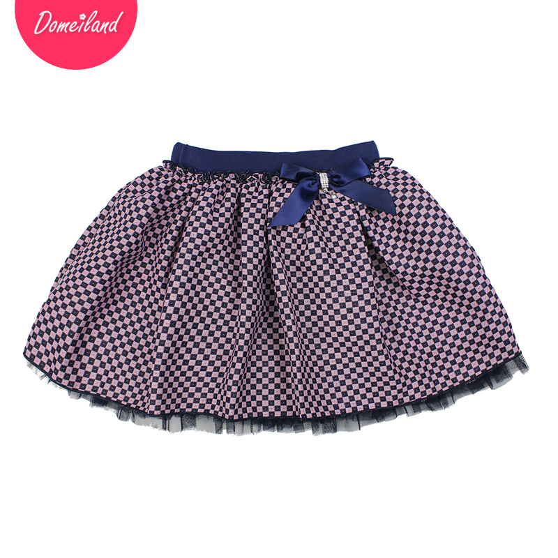 2017 Fashion brand domeiland spring Kids Girls clothing Tutu plaid Skirt Cotton Bow Children party Pleated layer Skirt clothes