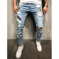 2018 M 3XL Ripped Jeans For Men Hip Hop Skinny Men Jeans Stretch Blue Jeans Designer Brand Fashion Slim Fit Dropshipping nz123